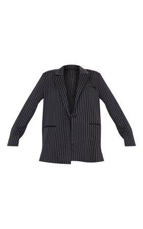 Black Pinstripe Oversized Dad Blazer | PrettyLittleThing USA