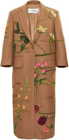 Valentino Embroidered Camelhair Coat