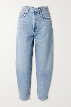 Balloon High-rise Tapered Jeans - Light denim