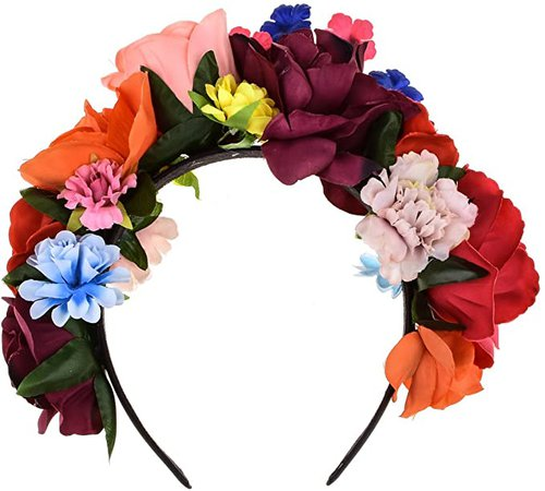 DreamLily Frida Kahlo Mexican Flower Crown Floral Headband Party Costume Day of The Dead Headpiece NC12 (Mexican Crown) at Amazon Women's Clothing store