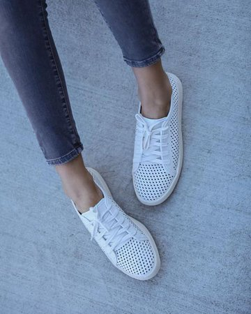 Montecito Faux Leather Perforated Sneakers - White – VICI