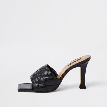 Black woven square toe mule sandal | River Island