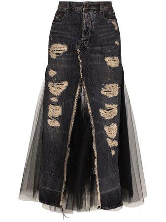Unravel Project Panelled Denim Midi Skirt