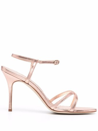 Manolo Blahnik metallic-effect Leather Sandals - Farfetch