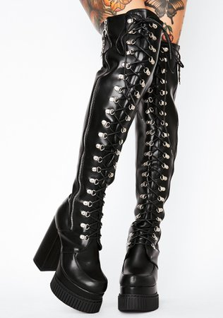 *clipped by @luci-her* Lamoda Nice For What Lace Up Vegan Leather PU Platform Boots   Dolls Kill