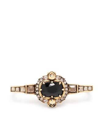 Alexander McQueen jewelled stick bar earring black & gold 650507J160Z - Farfetch