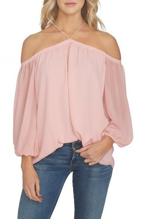 1.STATE Off the Shoulder Sheer Chiffon Blouse   Nordstrom