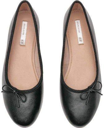 Leather Ballet Flats - Black