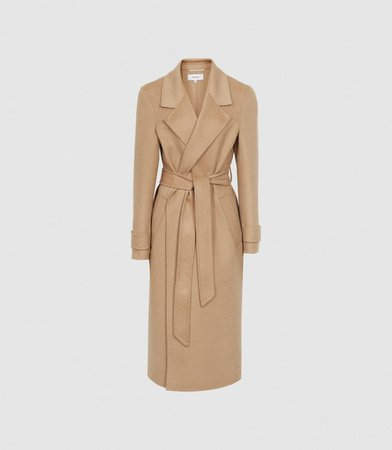 Leah Camel Wool Blend Longline Overcoat – REISS