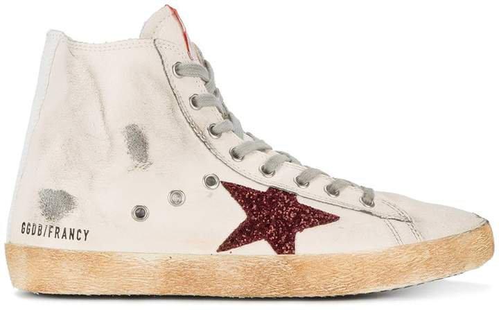 White Red Glitter Francy hi top sneakers