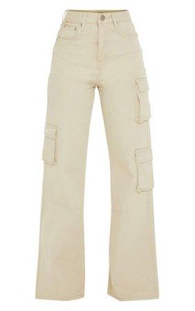 Petite Stone Wide Leg Cargo Pocket Jeans | PrettyLittleThing