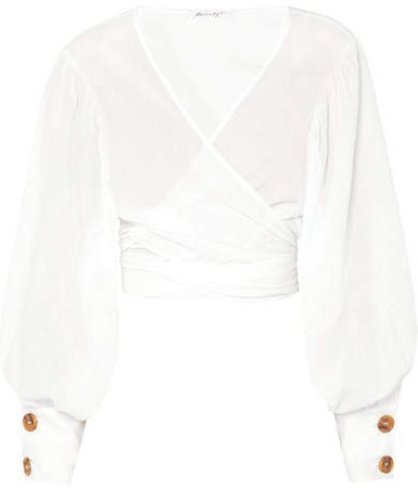 The Line By K - Oliviera Crinkled Cotton-voile Wrap Top - White