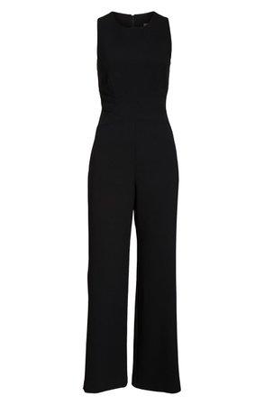 Vince Camuto Crisscross Waist Crepe Jumpsuit black