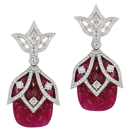 Andreoli Carved Ruby Diamond Statement Drop Earrings 18 Karat White Gold For Sale at 1stDibs
