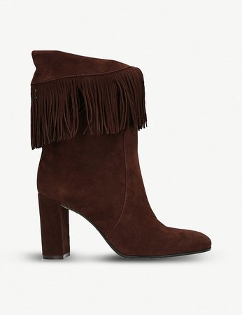 GIANVITO ROSSI - Dakota 85 fringed suede ankle boots | Selfridges.com