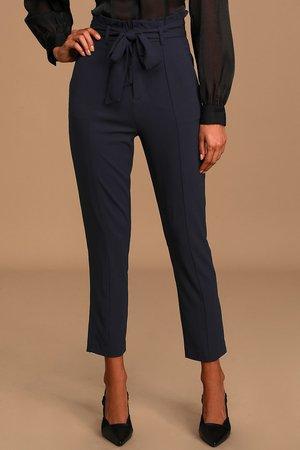 Chic Navy Blue Pants - Paper Bag Waist Pants - Navy Blue Trousers - Lulus