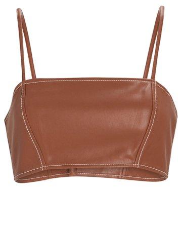 STAUD Bomber Vegan Leather Crop Top | INTERMIX®