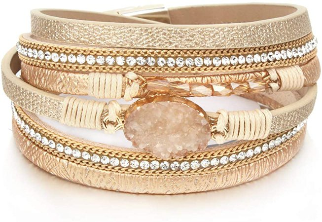 "Amazon.com: Leather Wrap Bracelet Boho Cuff Bracelets Crystal Bead Bracelet with Magnetic Clasp for Women Handmade Layered Bracelet for Women Teens(14.7"", Gold): Clothing"