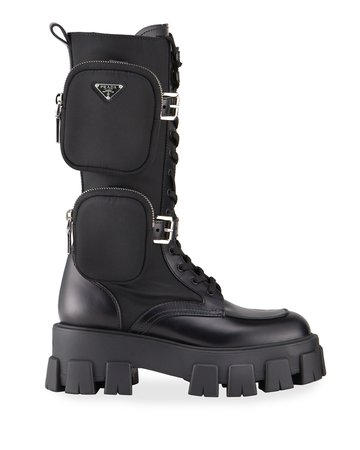 Prada Leather Zip Pocket Tall Combat Boots
