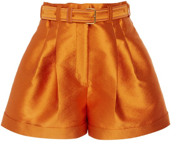 Peter Pilotto High-Rise Pleated Satin Shorts Size: 4