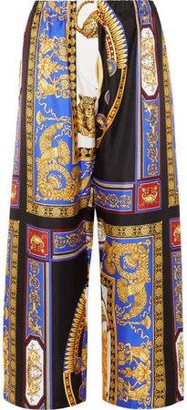 Cropped Printed Silk-twill Wide-leg Pants - Black