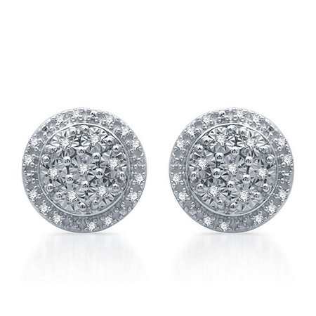 1/10 CT. T.W. Genuine Diamond 9.3 mm Stud Earrings in Sterling Silver - JCPenney