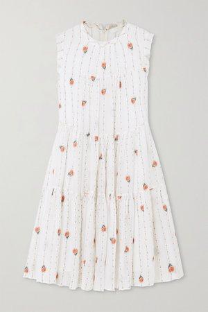 Ivory Tiered silk-blend mousseline mini dress | Chloé | NET-A-PORTER