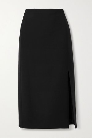 Black Wool and silk-blend midi skirt | Valentino | NET-A-PORTER
