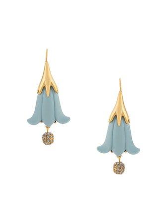 Oscar De La Renta Hanging Flower Earrings - Farfetch