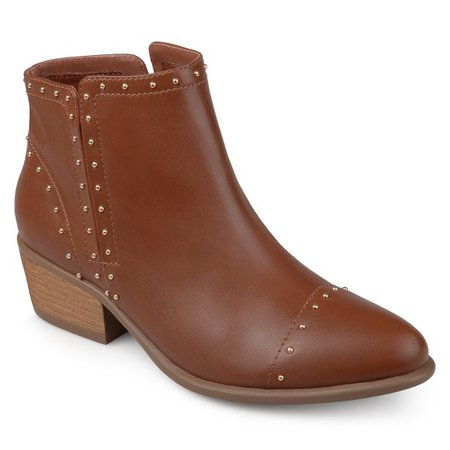 brown Brinley Co. - Brinley Co. Women's Faux Leather Stacked Heel Studded Ankle Boots - Walmart.com - Walmart.com