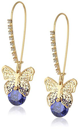 """Betsey Johnson""""Cubic Zirconia Critter"""" Cubic Zirconia and Butterfly Long Drop Earrings: Jewelry"""