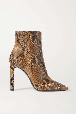 Snake print Grace python ankle boots | SAINT LAURENT | NET-A-PORTER