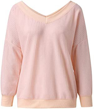 Amazon.com: WOCACHI Sweater for Womens, Womens Fashion Pullover Knit Tops Drop Shoulder Long Sleeves Loose Shirts Ladies Henley White Shirt Racerback 3/4 Sleeve Beach Party Loose: Clothing