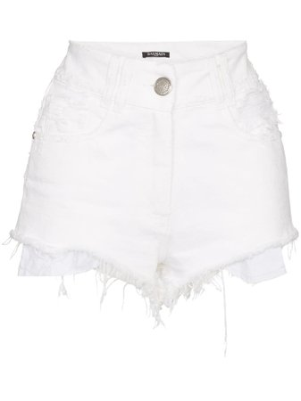 Balmain Frayed Hem Denim Shorts | Farfetch.com