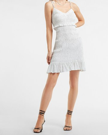 Smocked Tie Strap Ruffle Dress
