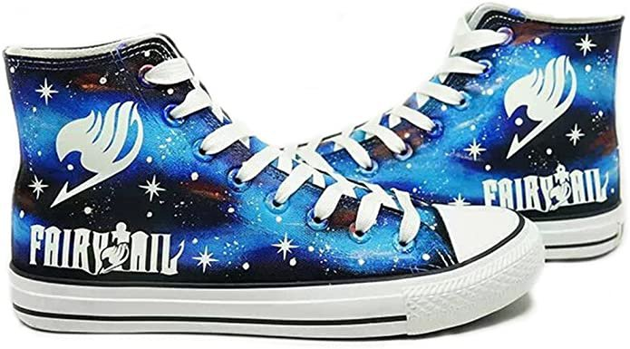 Amazon.com | Telacos Fairy Tail Anime Logo Cosplay Shoes Canvas Shoes Hand-Painted Shoes Sneakers Luminous | Fashion Sneakers
