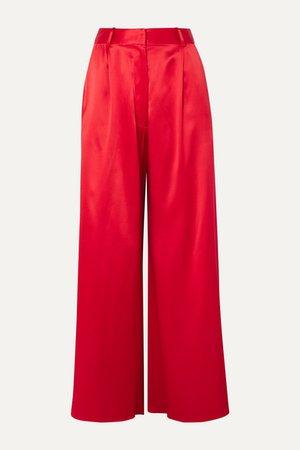 Belle Silk-satin Wide-leg Pants - Red