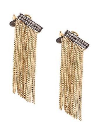 Sorellina 18kt Yellow Gold AXL Fringe Bar Diamond Earrings - Farfetch
