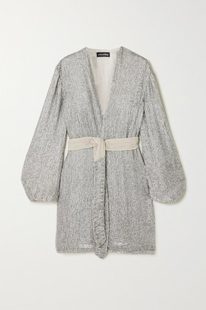 Gabrielle Velvet-trimmed Sequined Chiffon Mini Wrap Dress - Silver