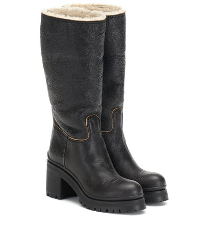 Shearling-Trimmed Ankle Boots - Miu Miu | Mytheresa