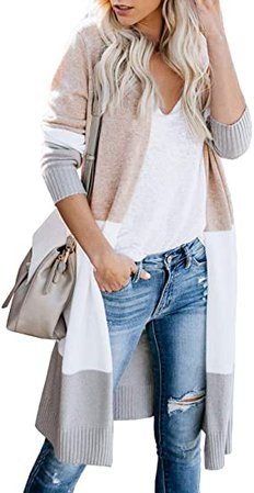 Lovaru Womens Boho Open Front Cardigan Colorblock Long Sleeve Loose Knit Lightweight Sweaters at Amazon Women's Clothing store