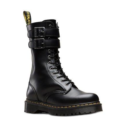 Dr Martens Caspian Alt Unisex 12-Eyelet Leather Boots - Black