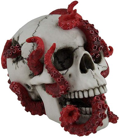 The Abyss Lurks Within Red Octopus Inhabiting a Human Skull Statue: Amazon.ca: Home & Kitchen