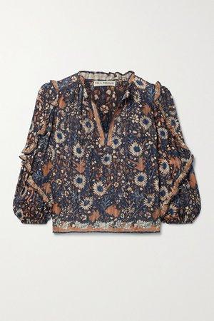 Brown Manet ruffled floral-print cotton-blend voile blouse | Ulla Johnson | NET-A-PORTER