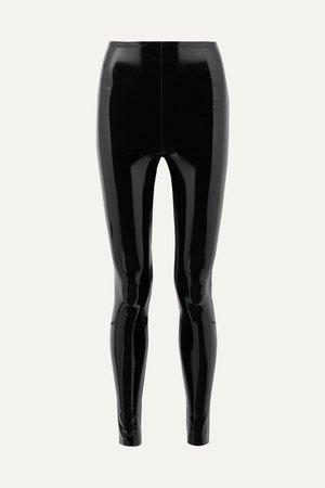Black Faux patent-leather leggings | Commando | NET-A-PORTER