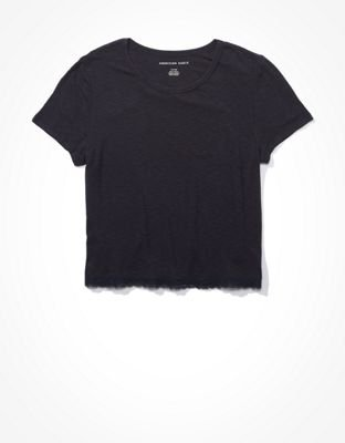 AE Lace Trim Baby T-Shirt black