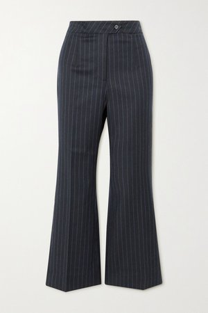 E.vill Boy Pinstriped Woven Flared Pants - Navy