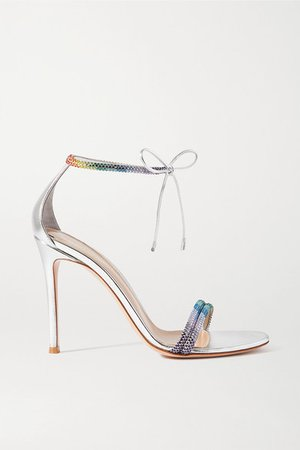 105 Crystal-embellished Metallic Leather Sandals - Silver