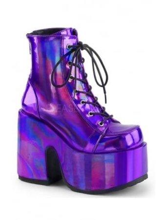 Purple holographic platform boots