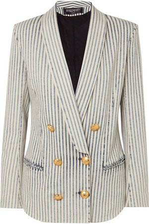Balmain | Double-breasted striped stretch-denim blazer | NET-A-PORTER.COM